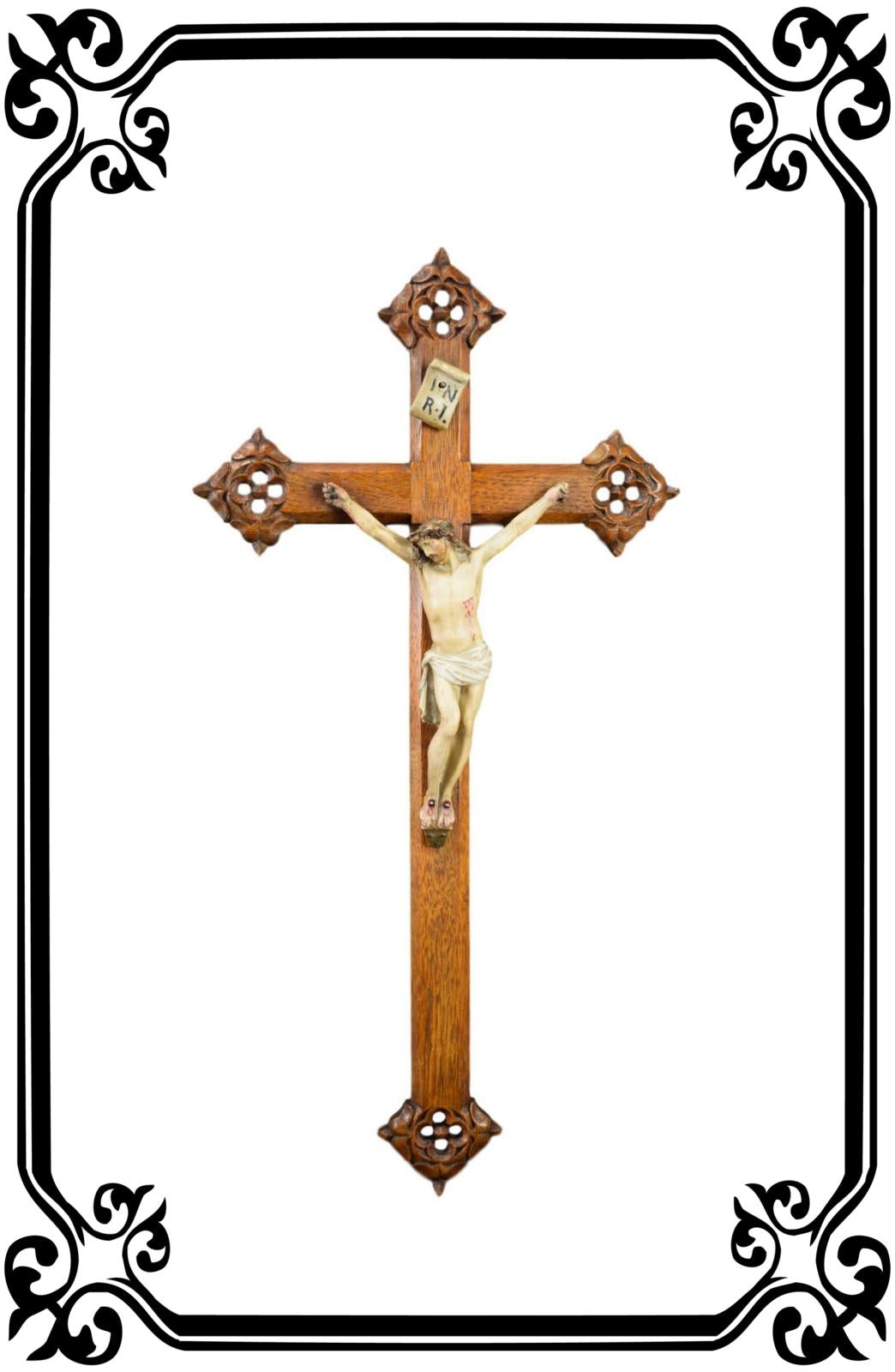 Hand Carved Wood Crucifix - Charmantiques