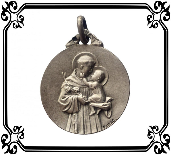 Saint Anthony of Padua French Art Nouveau Sterling Silver Medal By Tairac