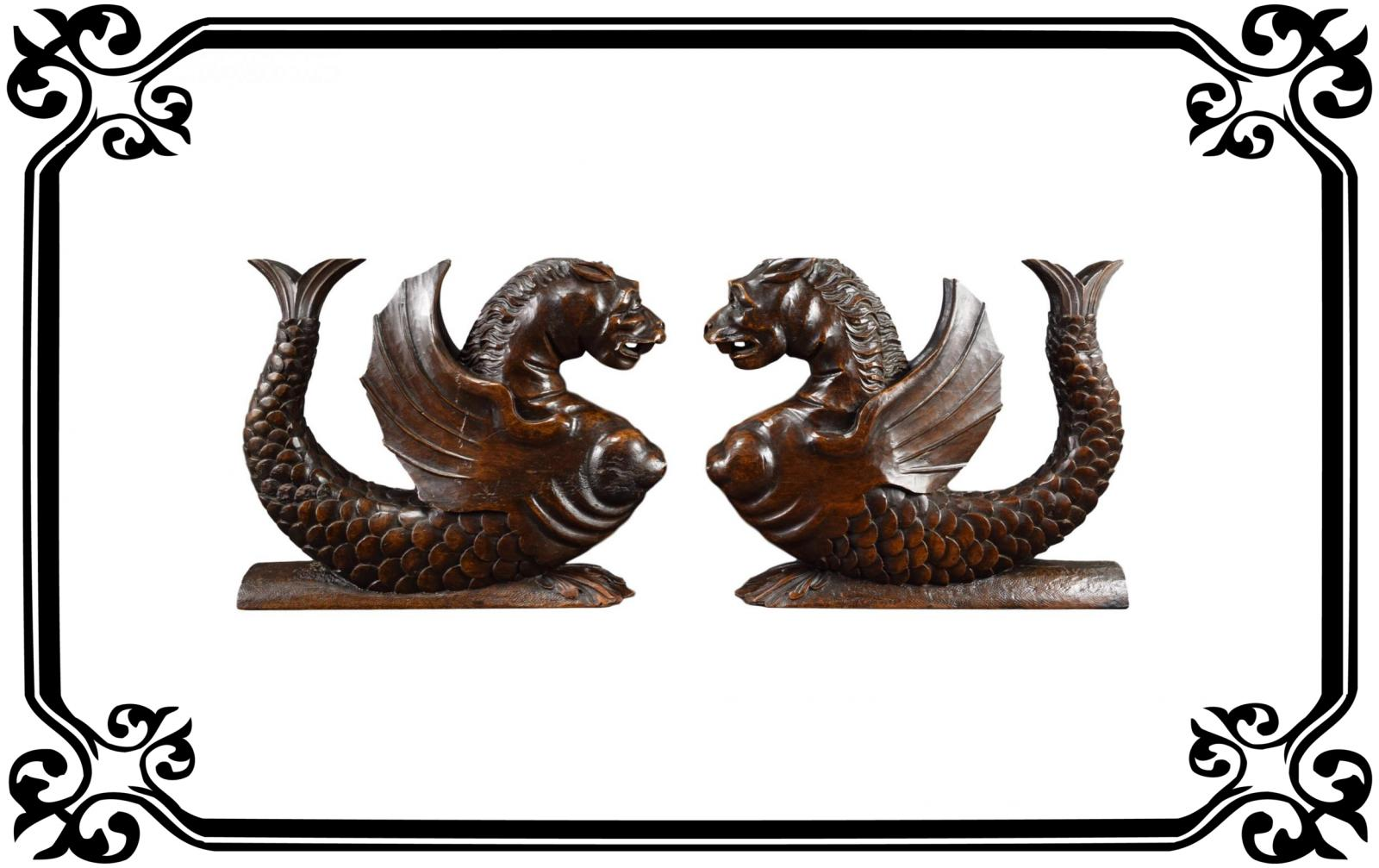 French Carved Wood Griffins - Charmantiques