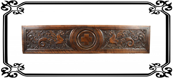 Gothic Carved Wood Panel - Charmantiques