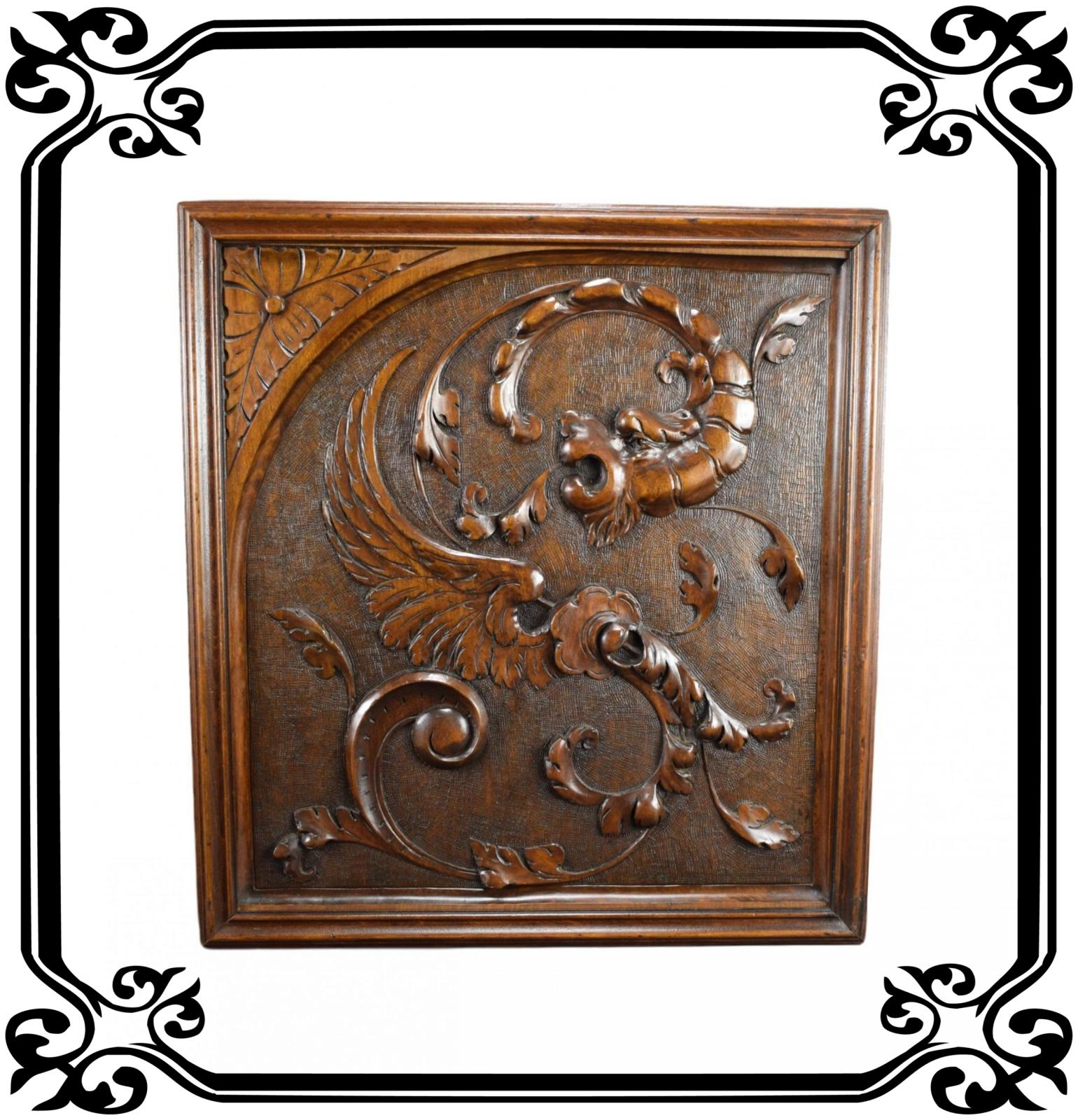 Carved Wood Panel Chimera 1 - Charmantiques