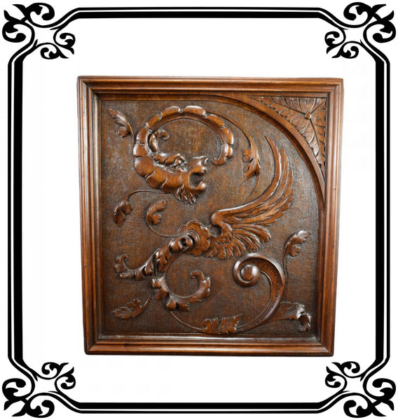 Carved Wood Panel Chimera 2 - Charmantiques
