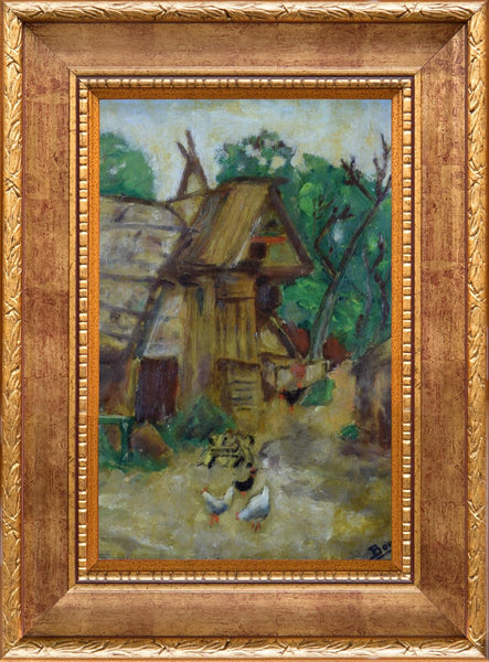French Antique Oil Painting on Board - Provence Hen Poultry House Rooster - Picturesque Barn 1938