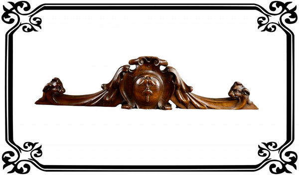 French Antique Hand Carved Wood Pediment - Length 29 15/16 inches