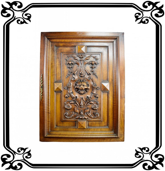 French Antique Hand Carved Wood Cupboard / Closet Door - Lion head - 19th