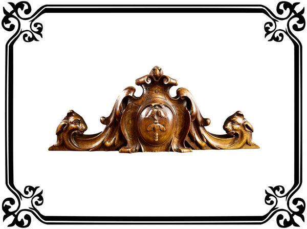 French Antique Hand Carved Wood Pediment - Length 20 1/2 inches