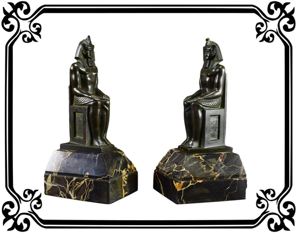 Vintage French Bronze Art Deco Bookends Pharaoh