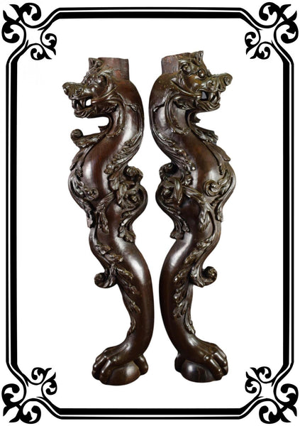 Vintage French Large Pair of Carved Wooden Console 19th Dragons