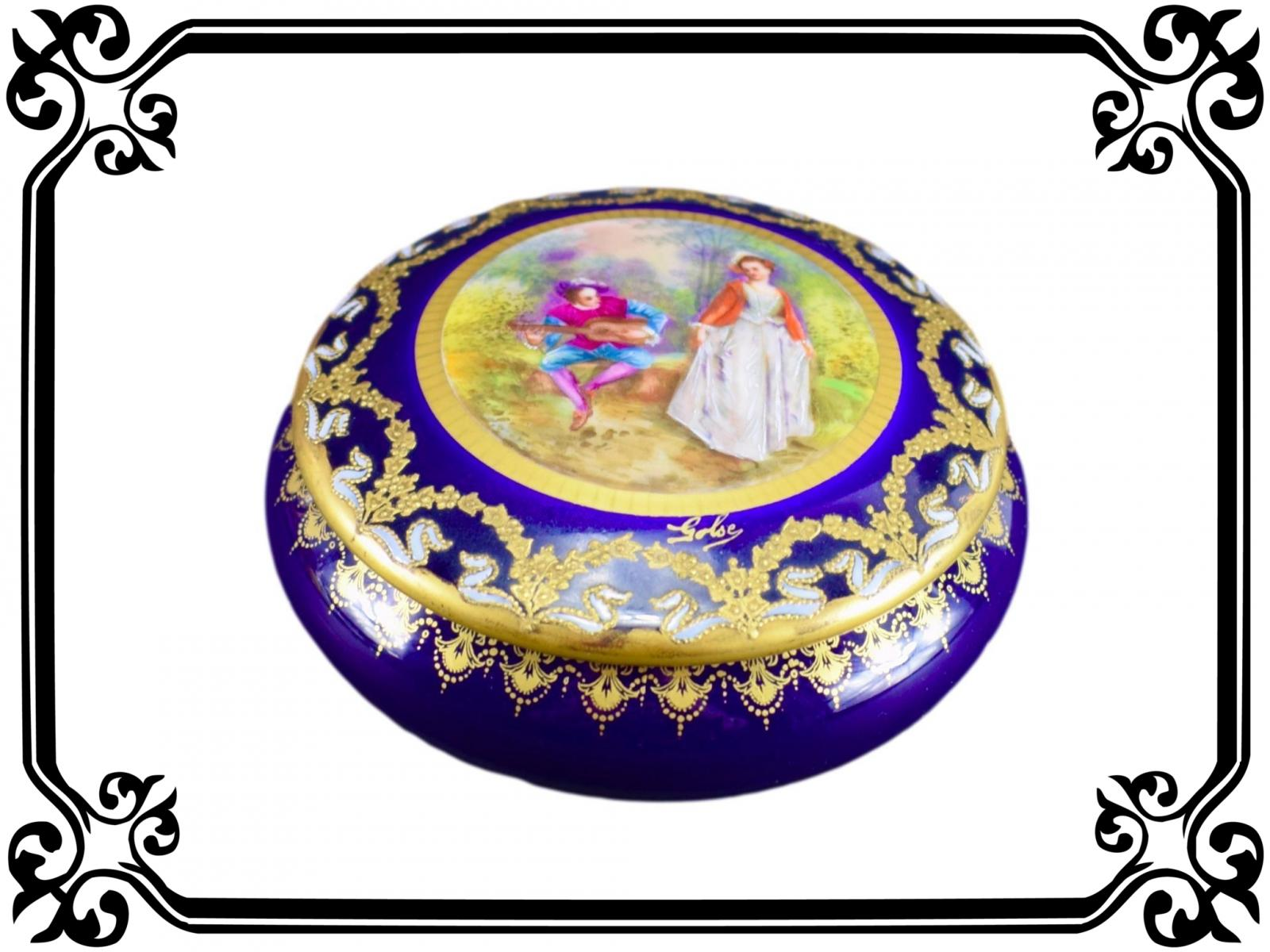 French Vintage Hand Painted Porcelain Box