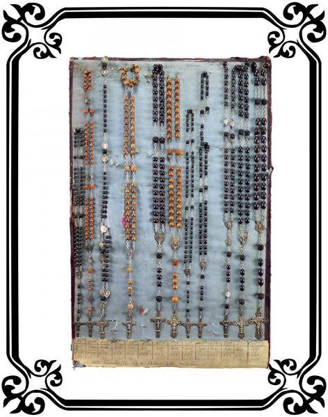 Vintage French Rosary display in corozo