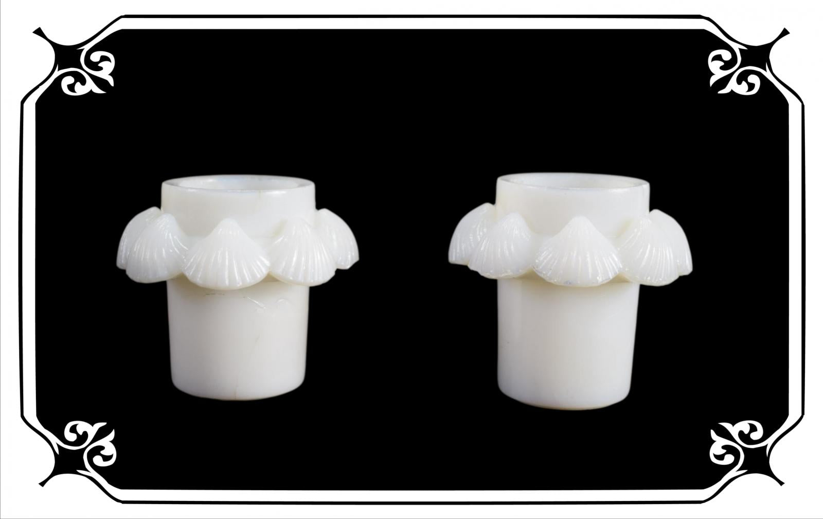Vintage French Antique Pair of opaline inkwells shell 19th