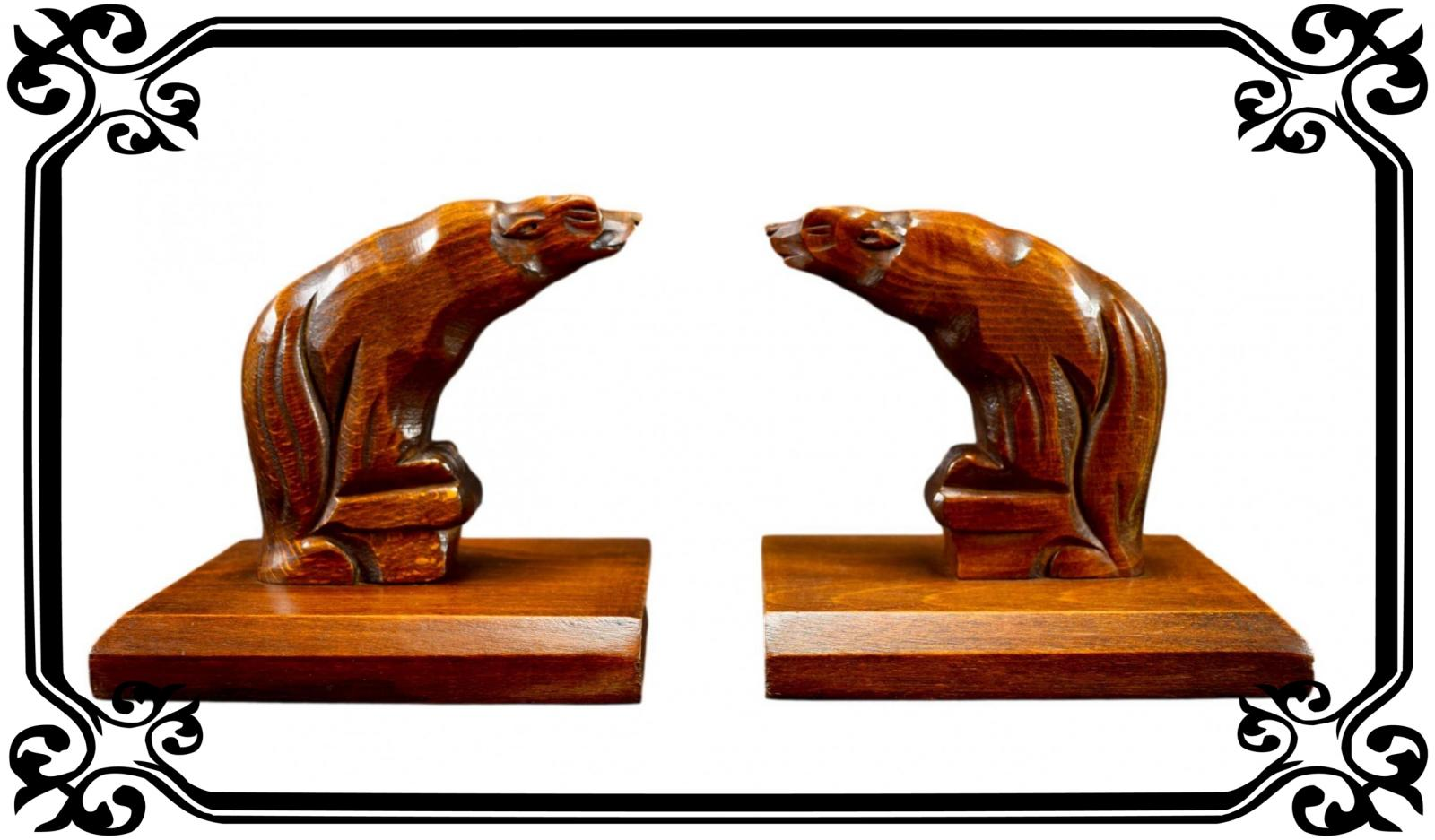 Vintage French Art Deco Bear Bookends Book ends Wood