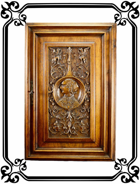 French Antique Gothic Hand Carved Wood Cupboard Door 19th