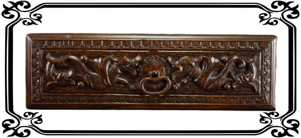 VINTAGE Antique French Carved Wood Pediment Drawer Pull Front