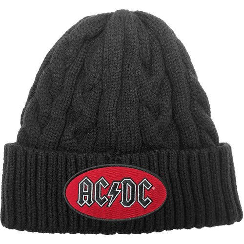 AC/DC UNISEX BEANIE HAT: OVAL LOGO (CABLE-KNIT)