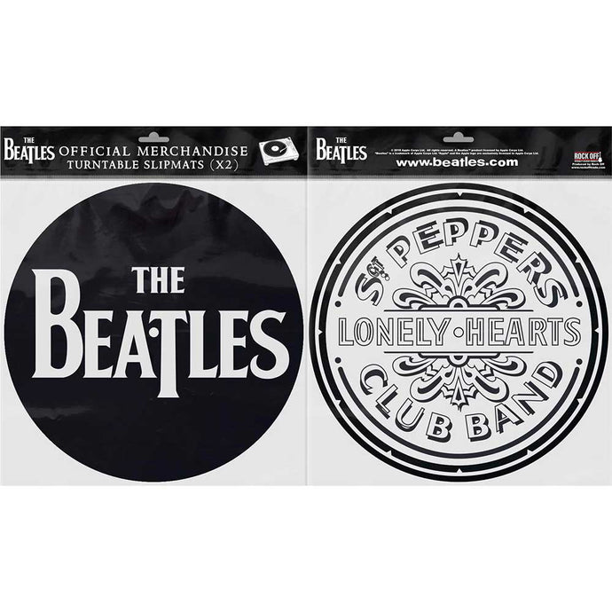 THE BEATLES TURNTABLE SLIPMAT SET: DROP T LOGO & SGT PEPPER DRUM