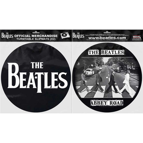 THE BEATLES TURNTABLE SLIPMAT SET: DROP T LOGO & ABBEY ROAD