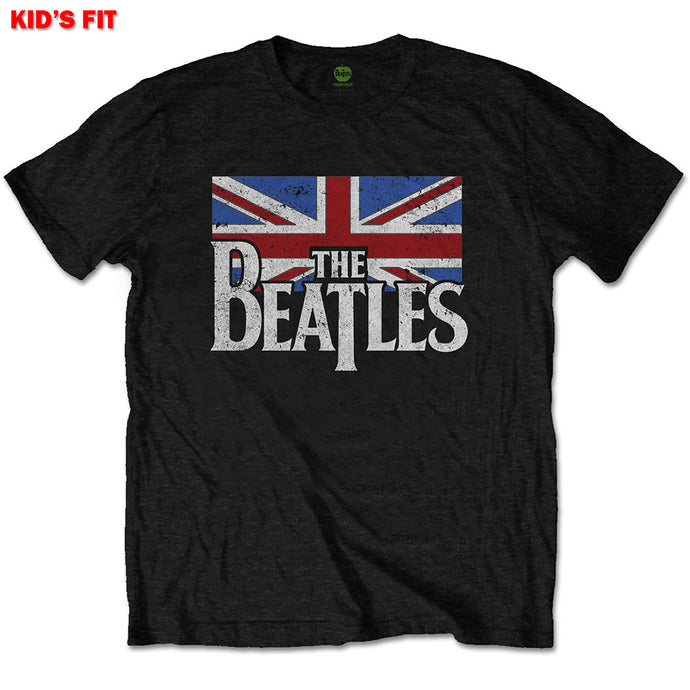 THE BEATLES KIDS TEE: DOP T LOGO & VINTAGE FLAG