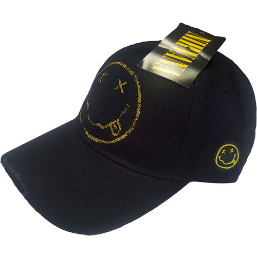 NIRVANA UNISEX BASEBALL CAP: SMILEY (DISTRESSED)
