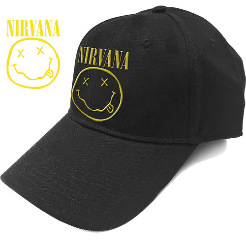 NIRVANA UNISEX BASEBALL CAP: LOGO & SMILEY