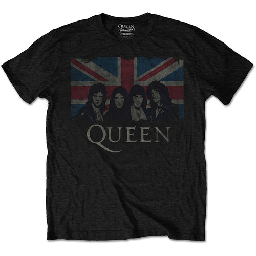 QUEEN UNISEX TEE: VINTAGE UNION JACK - BLACK