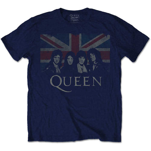 QUEEN UNISEX TEE: VINTAGE UNION JACK - NAVY BLUE