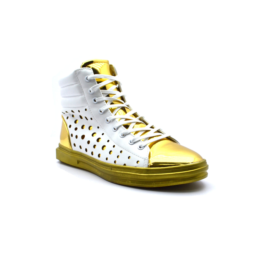 Mens Fiesso White/Gold Sneakers High Top Boots by Aurelio Garcia Sneakers FI2251 - Bacana Clothing + Shoes