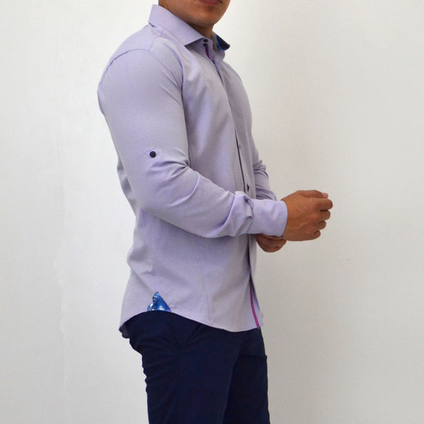 SLIM FIT EASY CARE TEXTURED SHIRT PURPLE