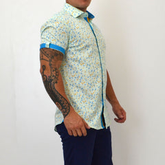 FITTED FLORAL SHORT-SLEEVE COTTON DRESS SHIRT GREEN