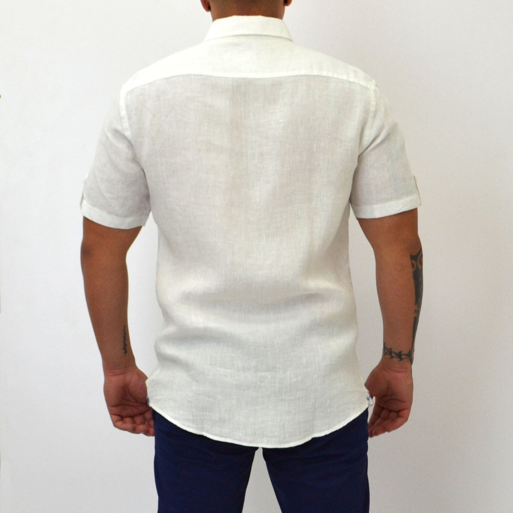 FITTED LINEN-BLEND SHORT SLEEVE SHIRT WHITE - Bacana Clothing + Shoes