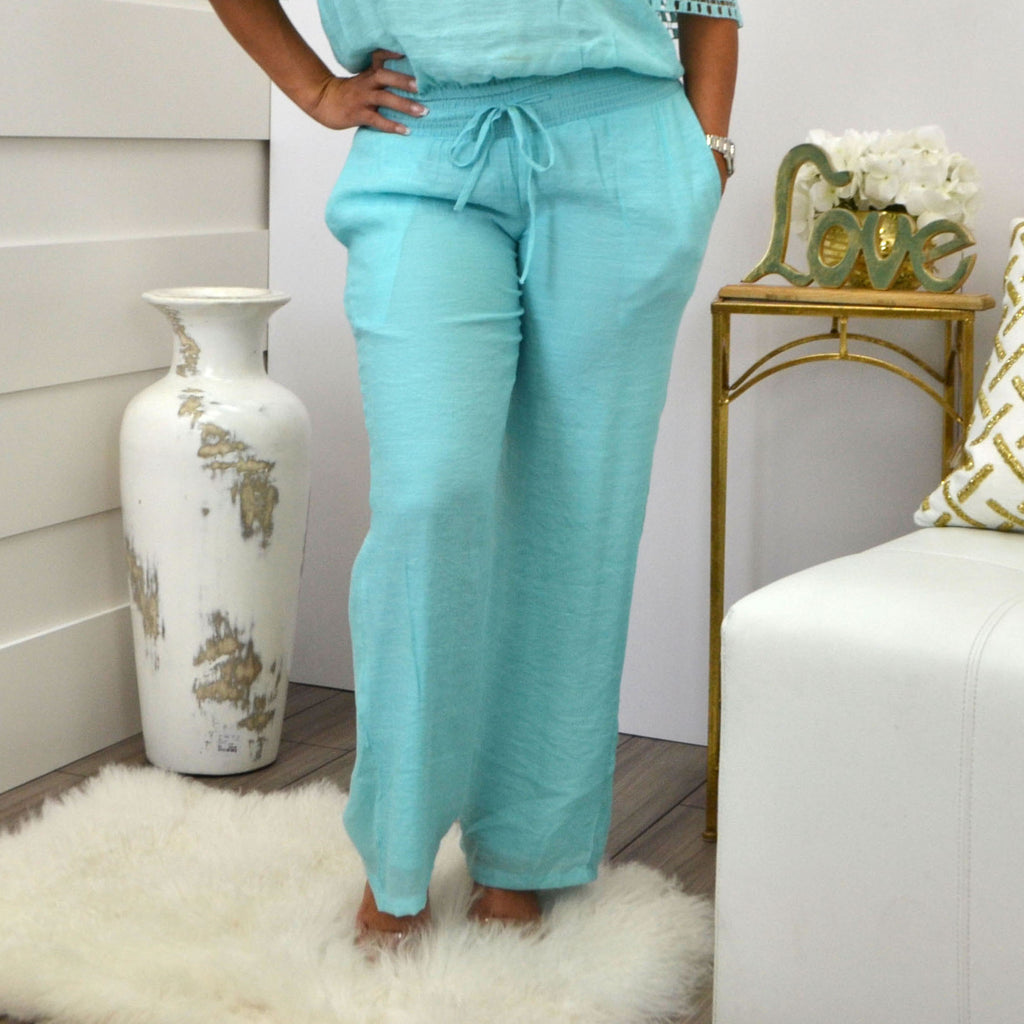 LORENA ADAMS PANTS AQUA - Bacana Clothing + Shoes