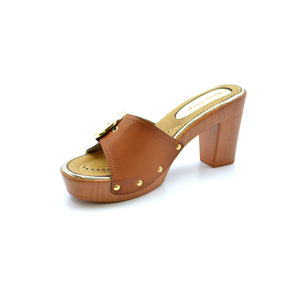 AGNES 18 TAN MEDIUM HEELS - Bacana Clothing + Shoes