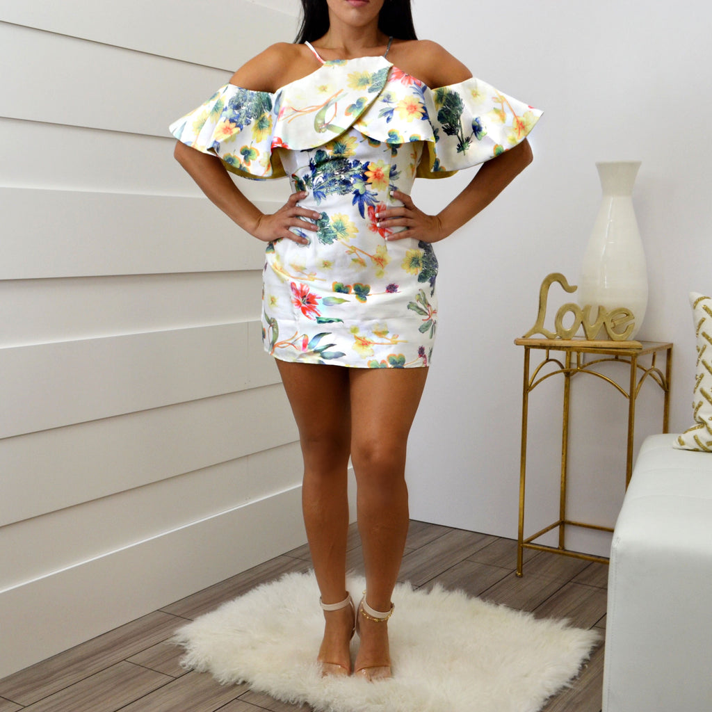 WHITE OFF SHOULDER SHORT SLEEVE FLORAL-PRINT MINI DRESS