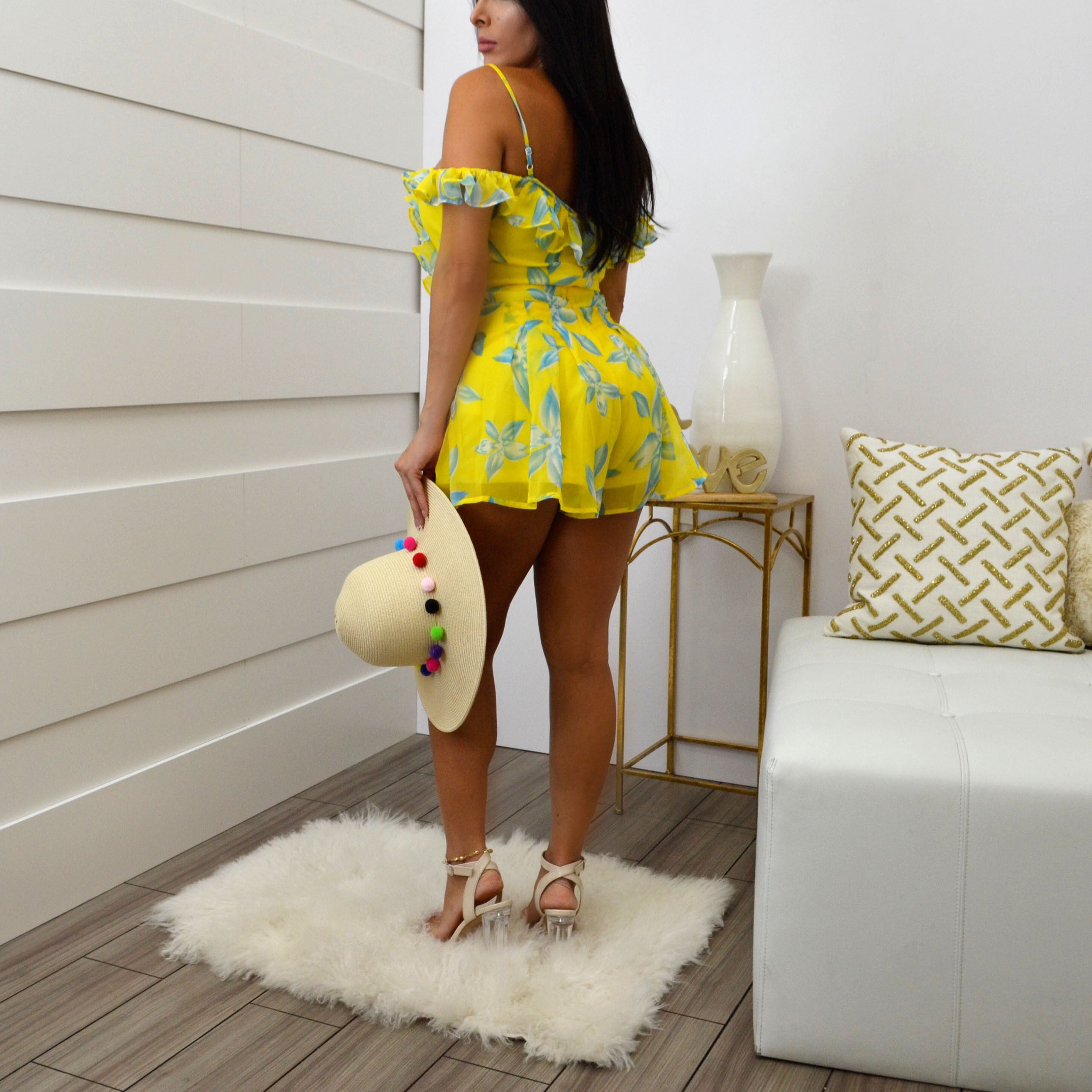 FLORAL ROMPERS YELLOW - Bacana Clothing + Shoes