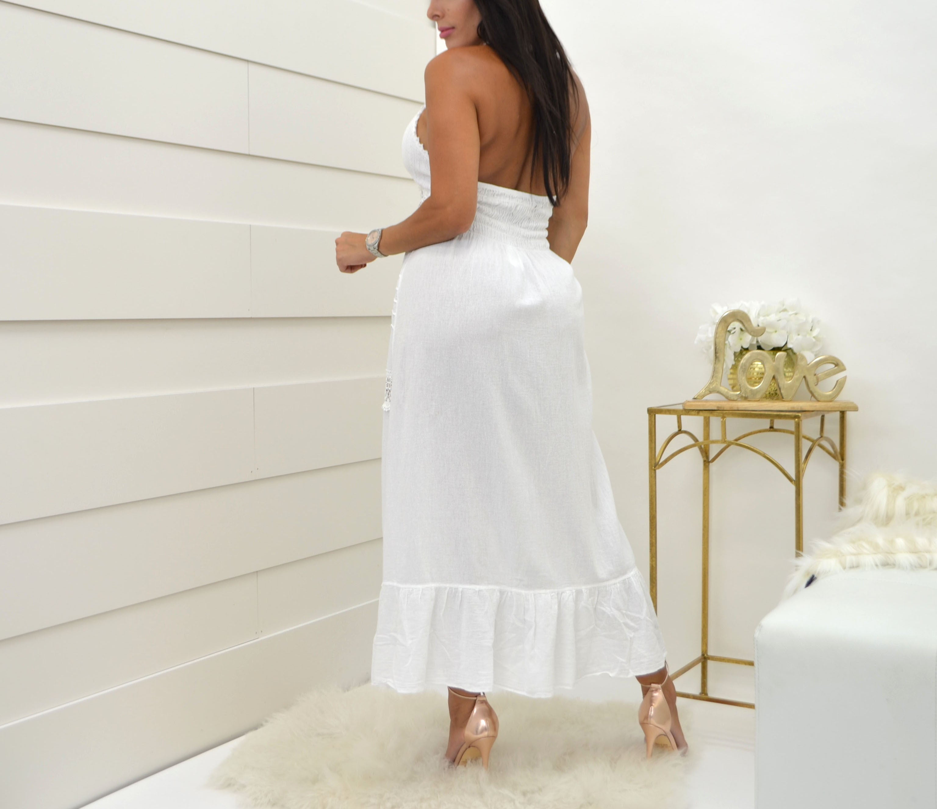 Sea Spice White Dress NW1068 - Bacana Clothing + Shoes