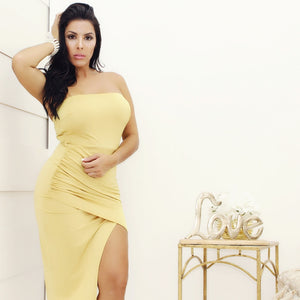 Yellow Dress D1245 - Bacana Clothing + Shoes