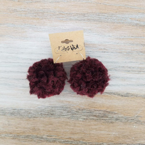 Kith and Whim Maroon Yarn Pouf Earring Aggie Earring