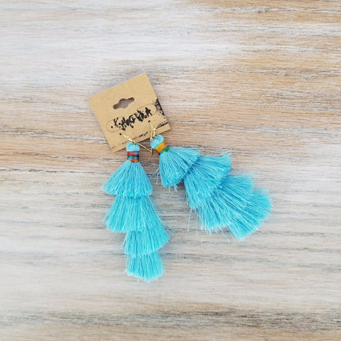 Kith and Whim- Aqua Tassel Earring Statement Earring