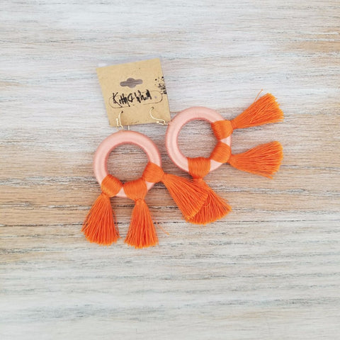 Kith and Whim Orange Hoop Fringe Earring