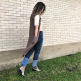 Gray Knit Duster Vest
