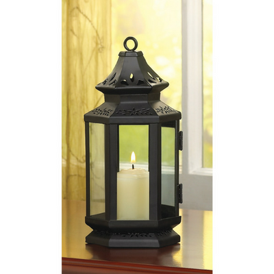 black stagecoach candle lantern small