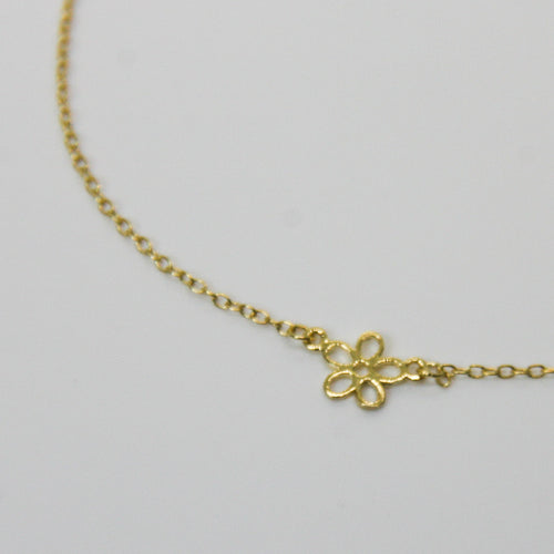 Girl Gold Petite Flower Pendant - by Galia