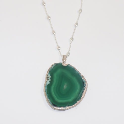 Emerald Agatha Pendant & Long Beads Chain - by Galia