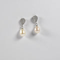 Drop Zirconia Nature Pearl Earrings - by Galia