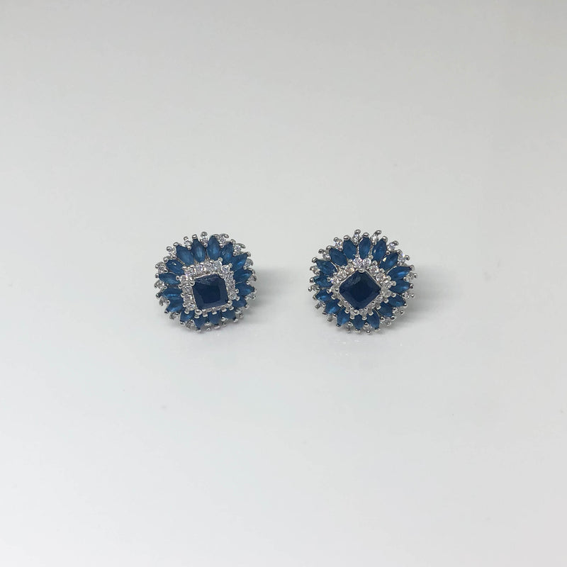 Square Navy Stud Earrings - by Galia