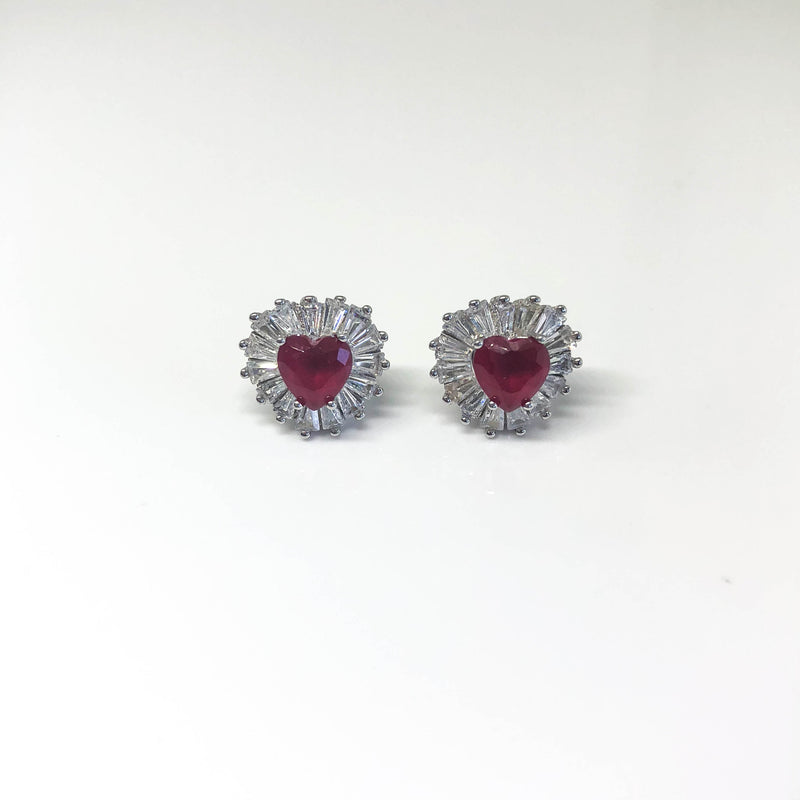 Pink Heart Stud Earrings - by Galia
