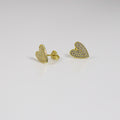 Long Heart Stud Earrings - by Galia