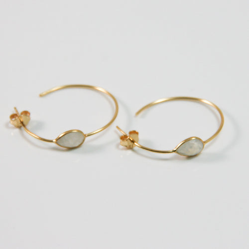 Gold Round White Drop Earrings - by Galia