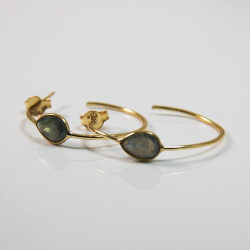 Gold Round Smoky Drop Earrings - by Galia