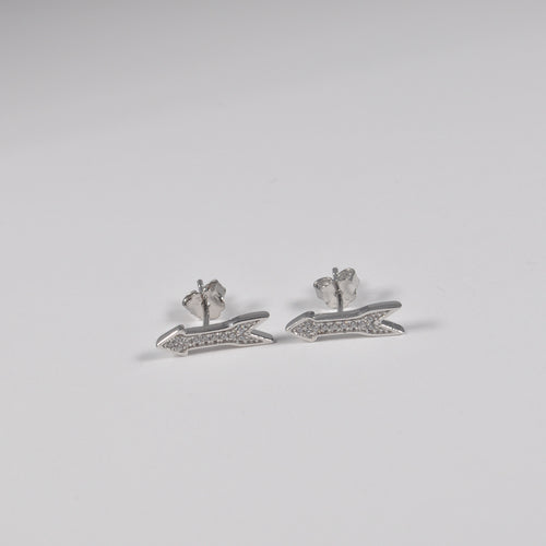 Arrow Zirconia Stud Earrings - by Galia